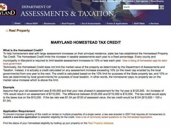 Homeowners Property Tax Credit Application