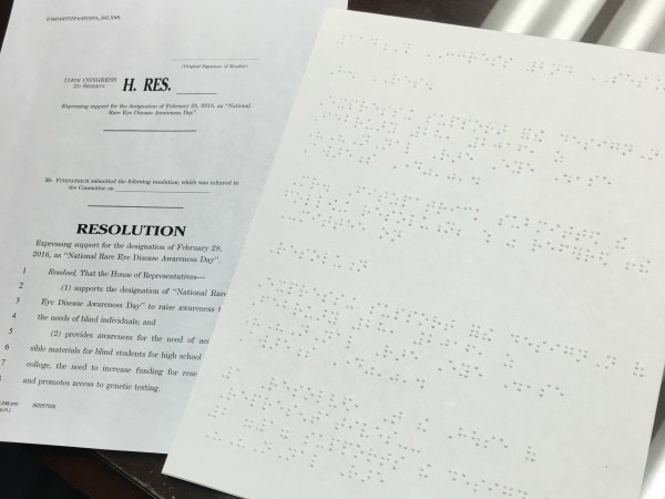 First Bill In Braille Introduced By Congressman