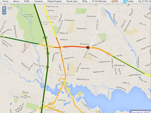 Traffic Alert Crash Disrupts Route 37 In Toms River