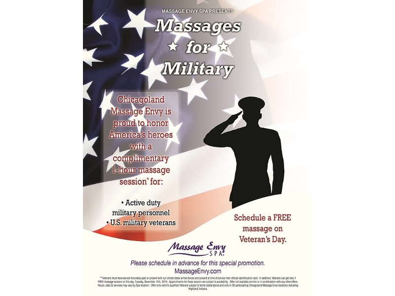 "Porsche Of Arlington >> MASSAGE ENVY SPA IN PALATINE PROVIDING ""MASSAGES FOR MILITARY"" ON VETERANS DAY 