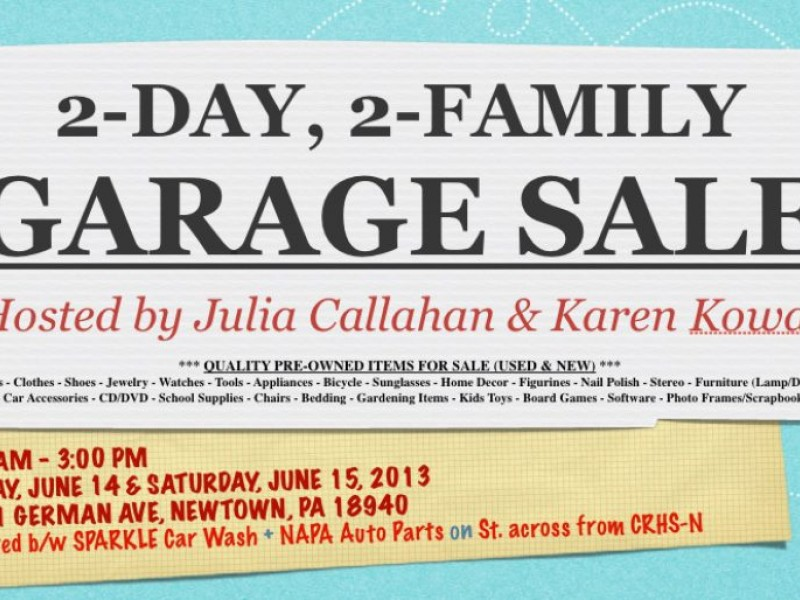 2-DAY 2-FAMILY GARAGE SALE COMING UP! | Newtown, PA Patch