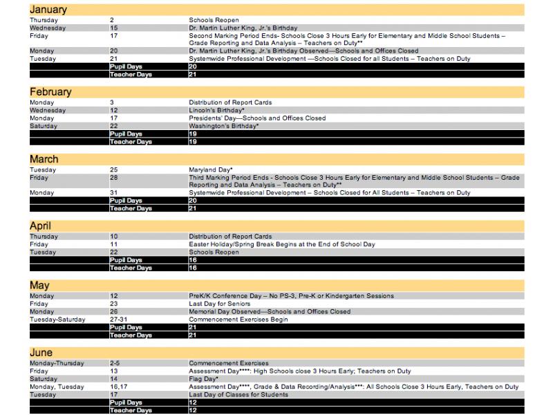 Baltimore City Schools Calendar.Looking Ahead Winter Spring 2014 School Calendar Essex Md Patch