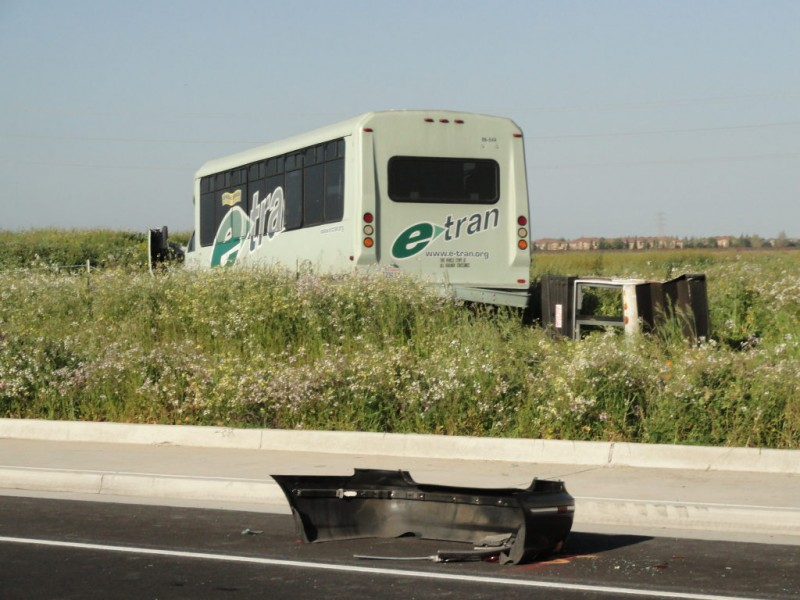 E-Tran Bus Collides With Car, Ends Up in Field   Elk Grove, CA Patch