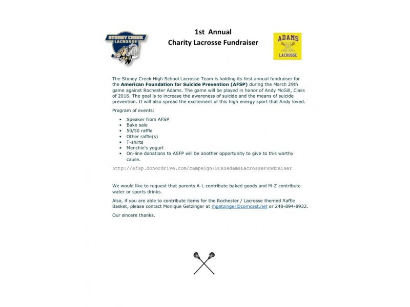 charity lacrosse fundraiser for afsp rochester mi patch