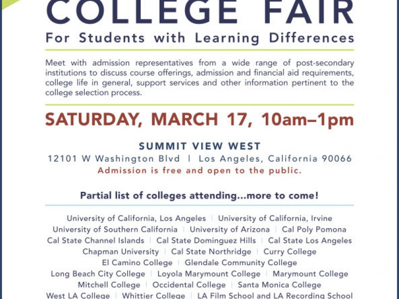 Summit View Wests College Fair For Students With Learning