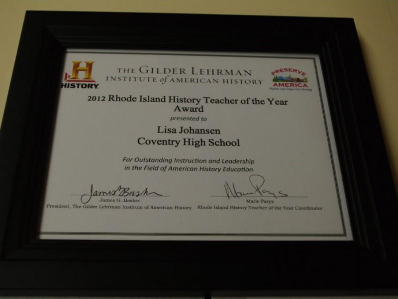 Johansen Named Ri History Teacher Of The Year Coventry Ri Patch