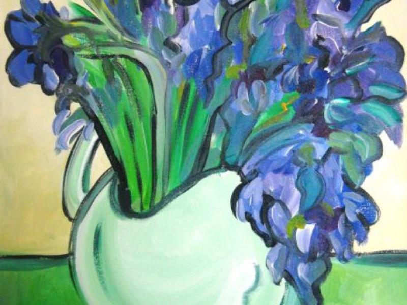Painting With A Twist Van Goghs Irises In A Vase Creve Coeur