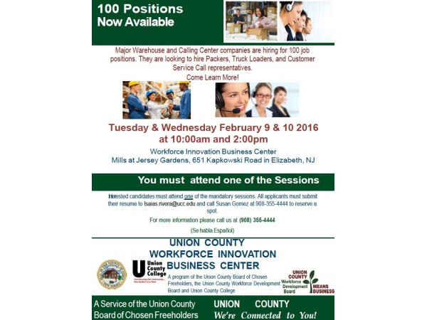 100 New Jobs Available Union County Freeholders Announce