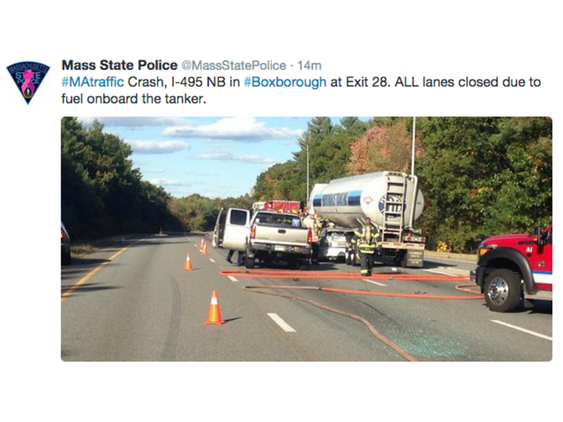 Tanker Rolls Over on I-495