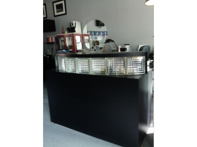 Reception desk magazine rack mirrors salon closing for 6 salon royal oak mi