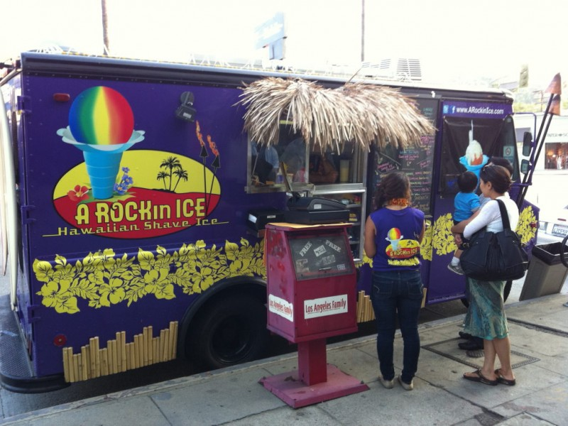 Shaved ice kiosks, flitting animated gif