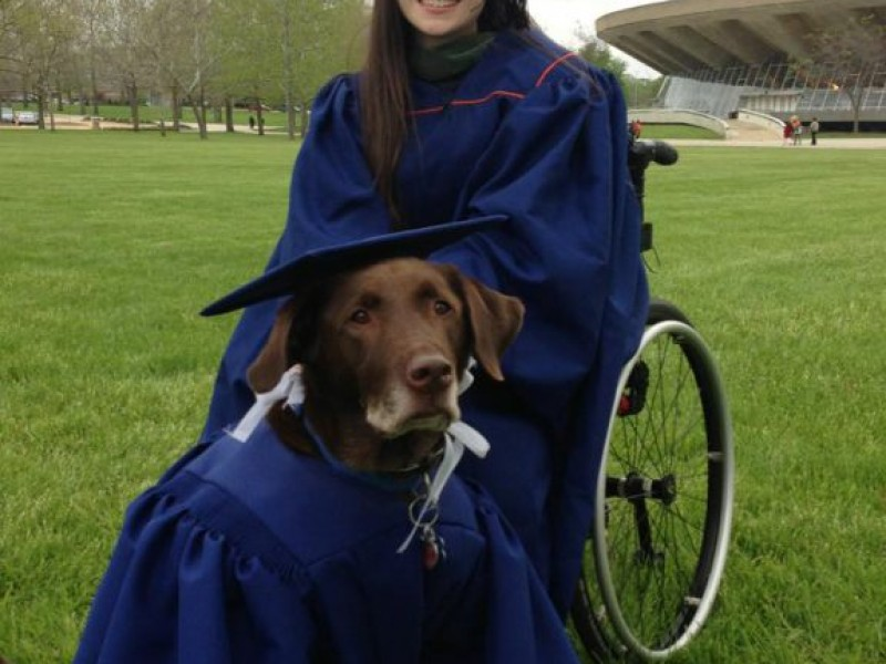 Suburban Woman and Service Dog Don Matching Cap and Gown | Chicago ...