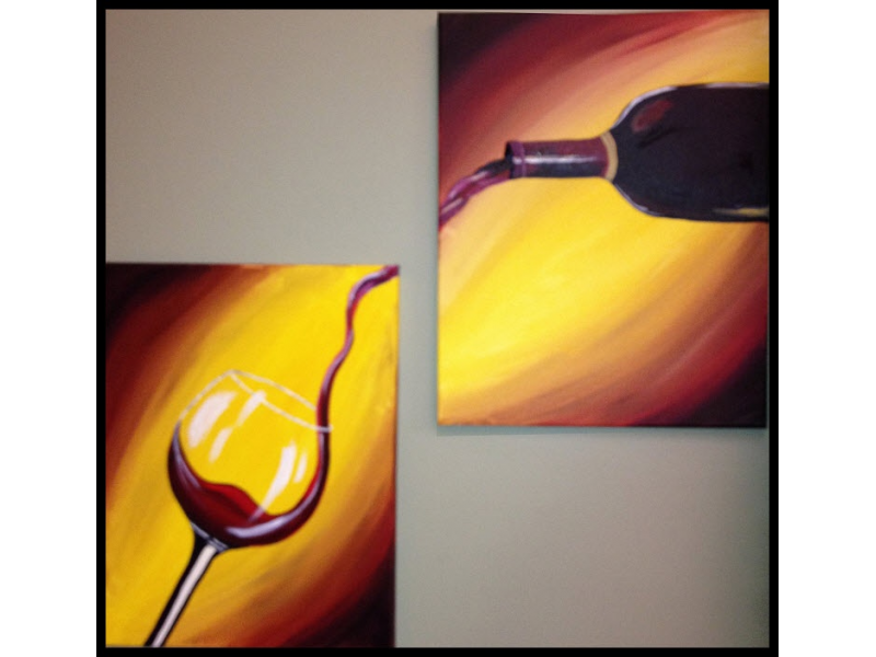 Paint and sip pour me a glass great for date night 2 for Paint n pour