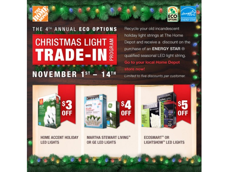 home depot offering coupons for old holiday lights