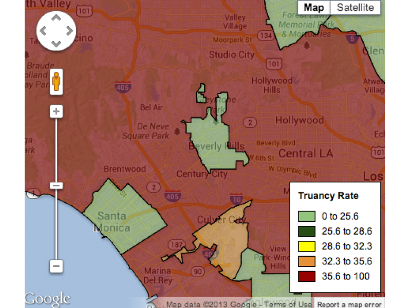 Los Angeles Unified Truancy Rates Among Highest In L A County Map