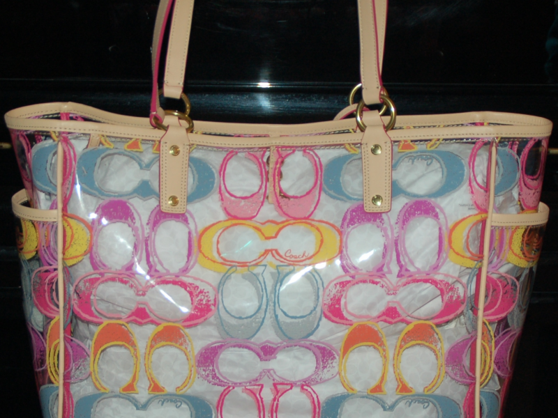 Traffic Violations Nyc >> Coach Scribble Clear Large Beach Bag Tote w/ matching ...