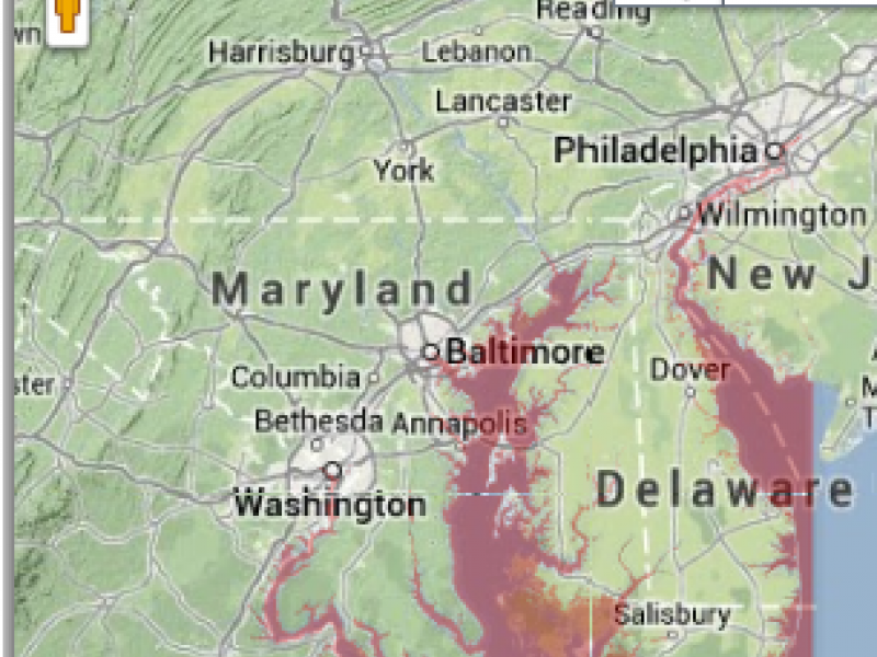 Interactive Map of Rising Sea Levels in