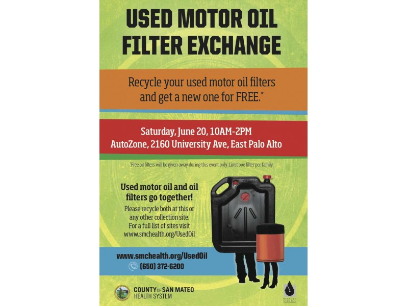 This saturday on the peninsula free motor oil filter when for Motor oil disposal near me