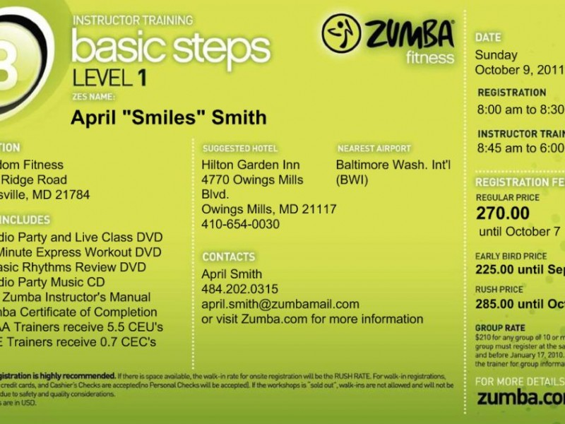 ZUMBA! Fitness Basic 1 Instructor Training   Eldersburg, MD Patch