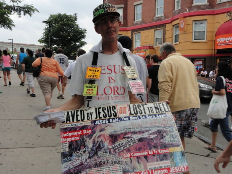Image result for guy holding religious sandwich board