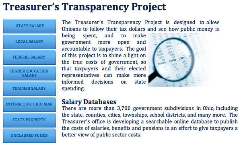 Public Employee Salaries Published on Ohio Treasurer's New