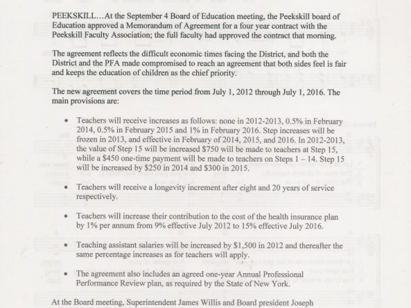 Peekskill Schools Faculty Reach Accord On Year Pact  Peekskill