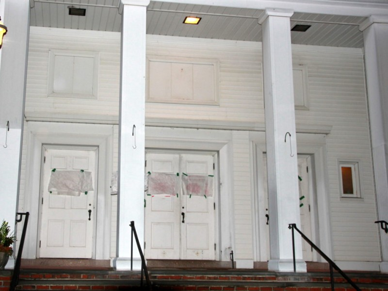 Vandals tag 39 brainwashing 39 at three wilmington churches wilmington ma patch for Exterior painting wilmington ma