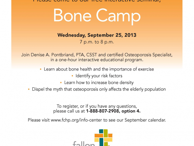 Bone Camp - free osteoporosis seminar Sept. 25 | Shrewsbury, MA Patch