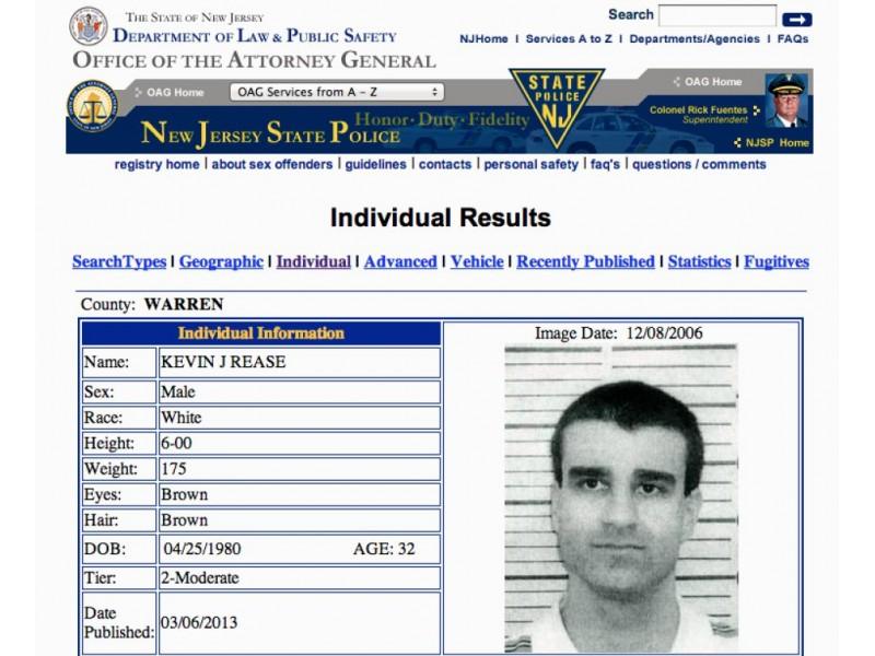 Requirements new jersey registration sex offender
