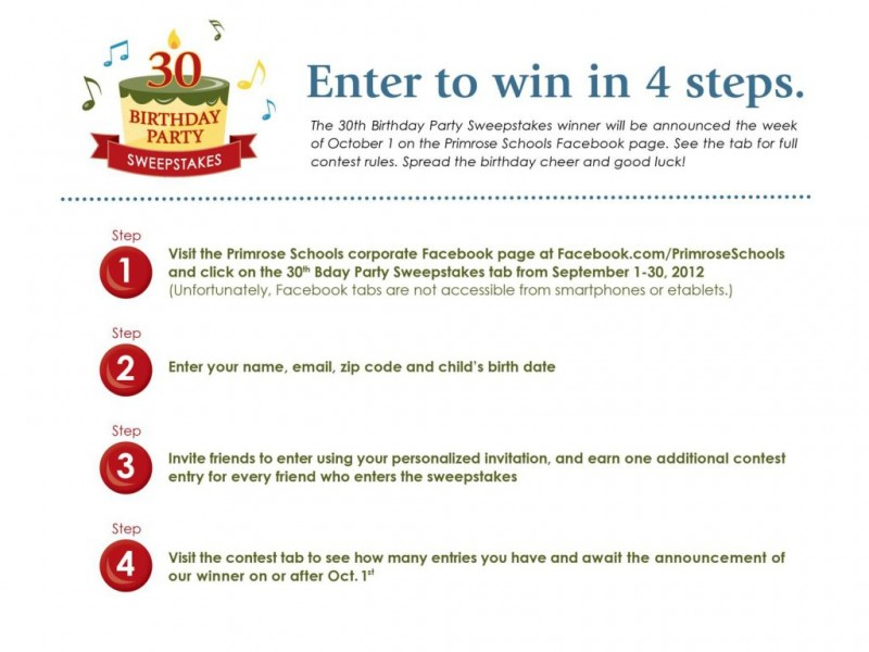 Primrose School of Five Forks Birthday Party Sweepstakes