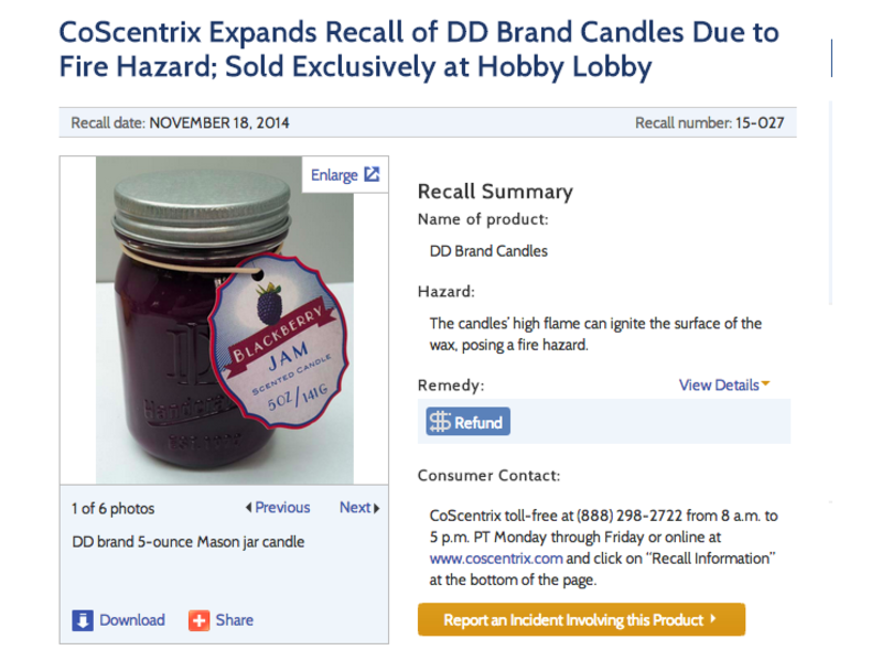 Candles Sold At Hobby Lobby Recalled Due To Fire Hazard Pacifica
