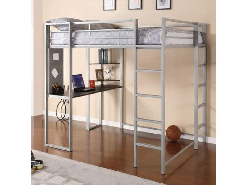 silver metal loft bed wdesk underneath for sale