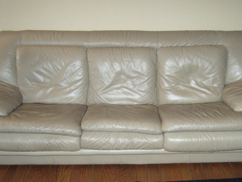 7; Italian Leather Taupe Color Sofa, Large Side Chair With Ottoman.