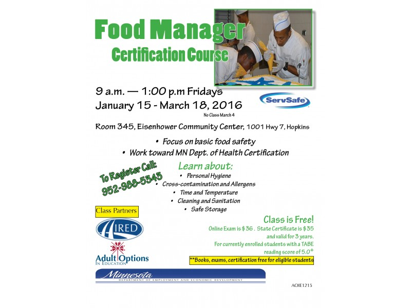 Food Manager Certification Course Hopkins Mn Patch