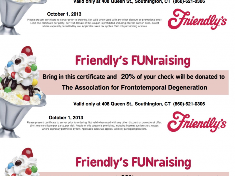 The AFTD Food for Thought Friendly\'s in Southington | Southington ...