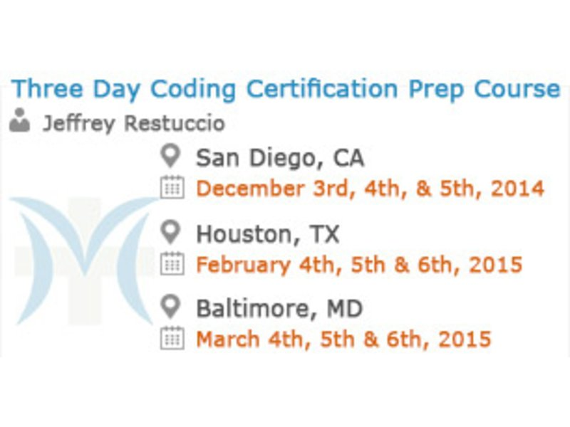 Three Day Coding Certification Prep Course -2-day In-person Seminar ...