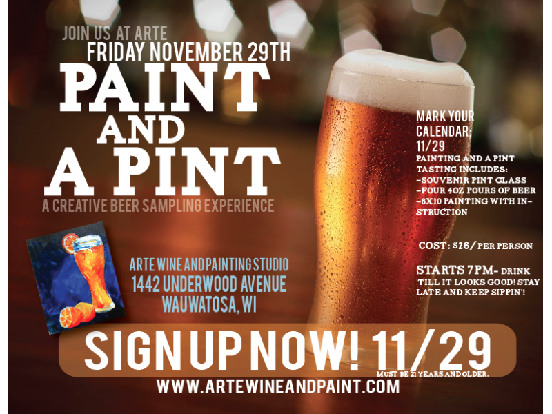 Paint And A Pint At Arté Wine Painting Studio