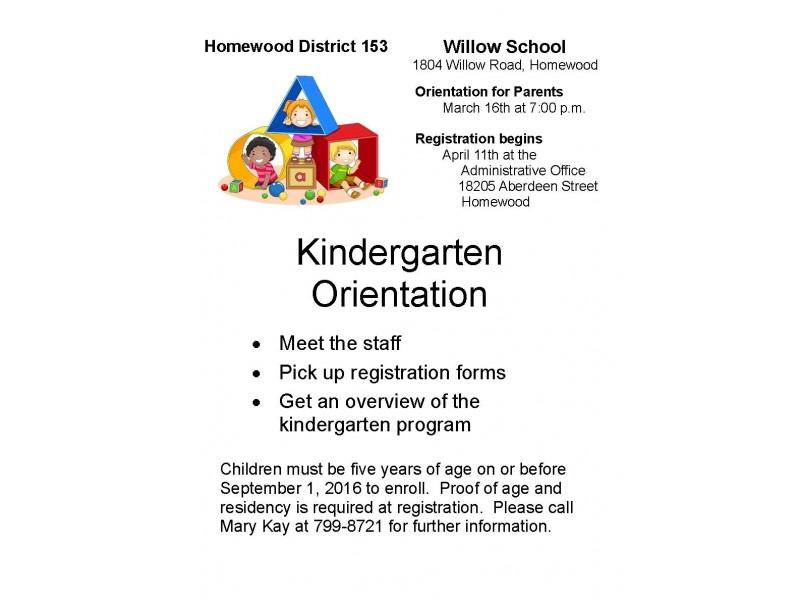 kindergarten parent orientation wednesday homewood il patch