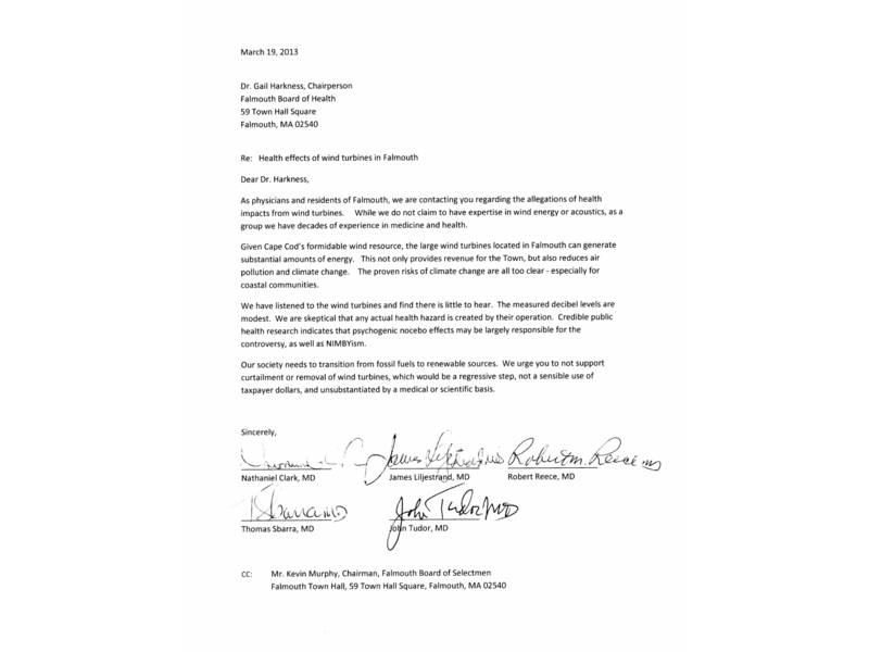 Good Five Falmouth Doctors Wind Turbine Letter Retraction