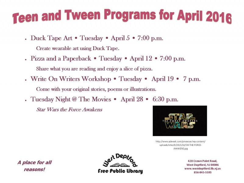 West Deptford Free Public Library April Programs West