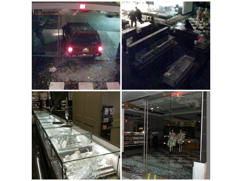 burglars smash stolen suv into stanford shopping center