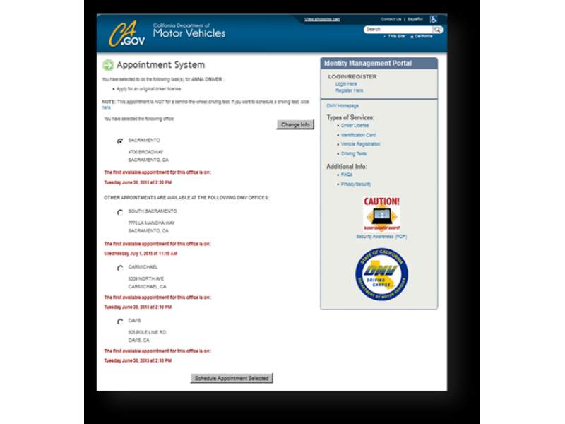 DMV Makes It A Little Easier To Find Best Appointments In Your Area. News from the California Department ...