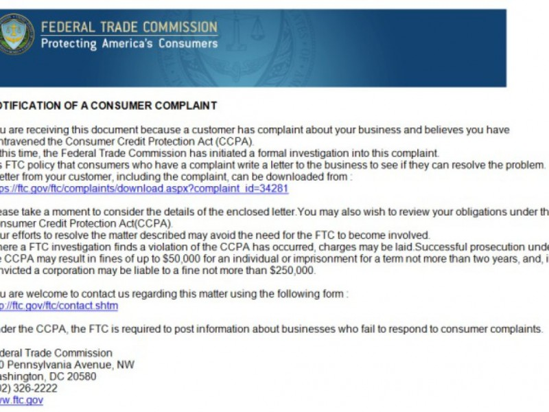 Bbb Warning Scammers Hijack FtcS Name For Fake Complaint Emails
