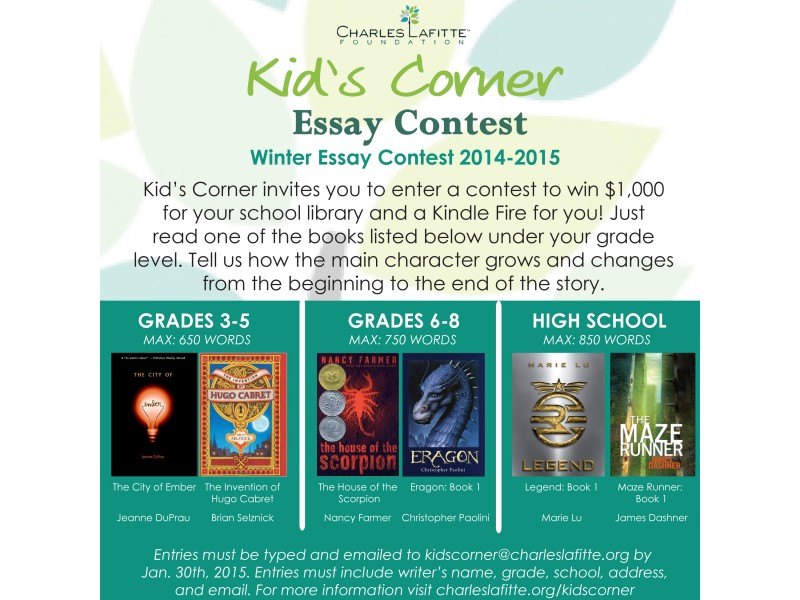charles hefling student essay competition The annual contest is open to students in grades five through eight and a  separate contest is held for high school seniors the essays are.