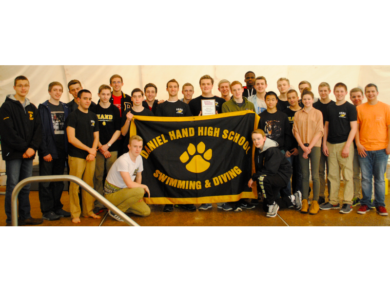 Daniel hand high school boys swim and dive team are champs madison ct patch for Deans high school swimming pool
