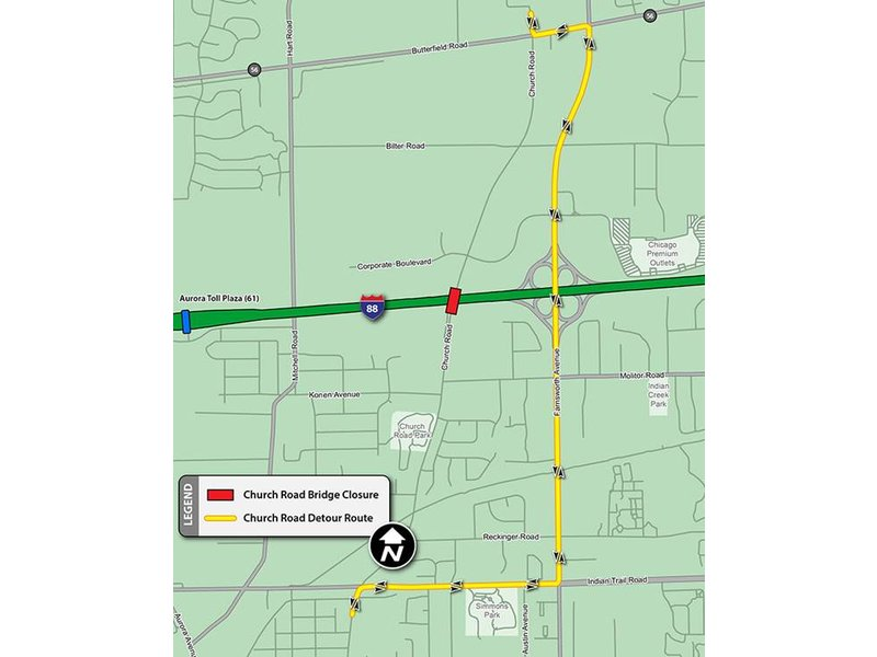 I-88 Church Road Bridge to Close Next Week for Replacement