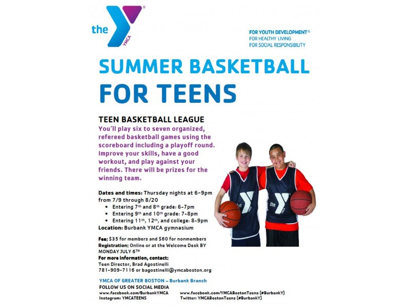 Burbank (Reading) YMCA teen summer sports leagues: basketball and ...