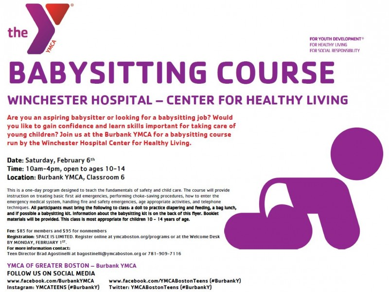 Burbank (Reading) YMCA Holds Babysitting Course By Winchester Hospital  Babysitting Skills