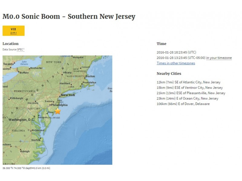 UPDATE Sonic Booms Likely Caused By Navy Training Reports Say - Nj timezone