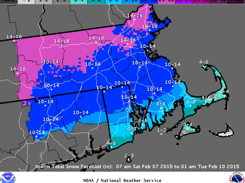 LATEST FORECAST: Another Foot of Snow Possible for Most of Mass